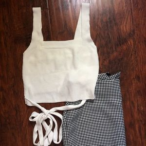 Urban outfitters crop top ribbed wrap tie SZ M